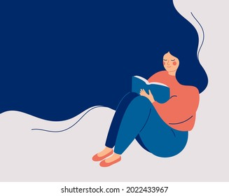 Happy woman sits and reads the book with enjoy and interest. The girl keeps her diary or takes notes. Book therapy session. Mental health concept. Vector illustration