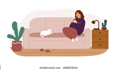 Happy woman sitting on couch holding cup of tea vector flat illustration. Relaxed female enjoying weekend at cozy home isolated on white. Smiling character spending time with cat feeling calmness.