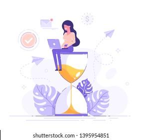 砂時計の上に座り、ノートパソコンのビジネスプロセスアイコンとインフォグラフィックスを背景に作業する幸せな女性。マルチタスク、生産性、および時間管理のコンセプト。平らなベクター画像イラスト