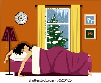 Happy woman sleeping in a cozy room, winter landscape behind the window, EPS 8 vector illustration