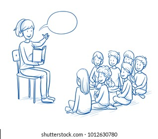 Happy woman, teacher, nurse or parent, reading a book to a multi ethnic group of children. Hand drawn line art cartoon vector illustration.