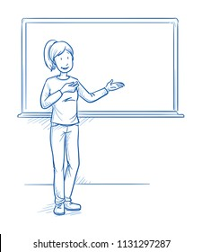 Happy woman, teacher or parent, standing in front of school blackboard and explaining something. Hand drawn line art cartoon vector illustration.