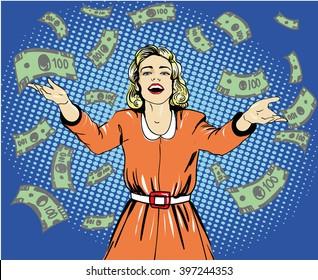 Happy woman throw money. Vector illustration in retro pop art style.