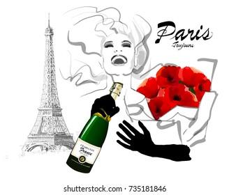 Happy woman traveling in Paris - vector illustration