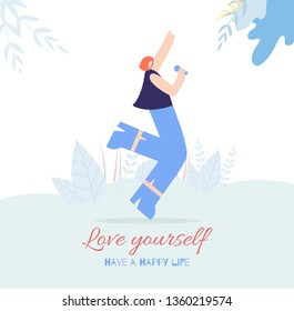 Happy Woman Vocalist Singing with Microphone Lovely Song Outside Flat Card Motivation Text Love Yourself Have Happy Life Flat Card Vector Floral Design Illustration Banner Inspirational Template