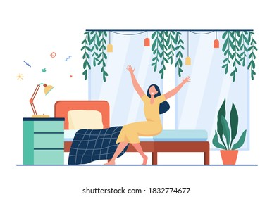 Happy woman waking up in morning. Person sitting on bed and stretching arms. Flat vector illustration for comfortable bedroom, deep sleep, wellness concept