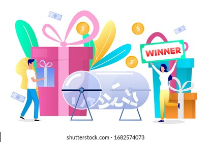 Happy woman winning prize draw and getting gift box, vector flat illustration. Random lucky prize draw winner, lottery gambling concept for web banner, website page etc.