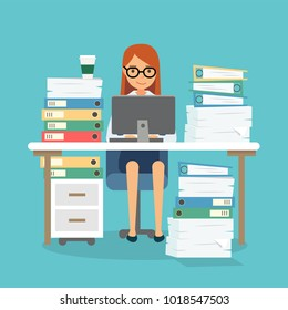 Happy woman at work with a lot of papers, piles of documents, computer. Office work, work load. Concept vector illustration in flat style.