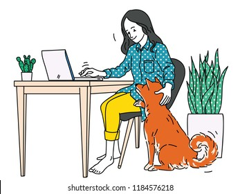 Happy woman working at home, sitting on desk with typing laptop computer, enjoy playing with her beloved dog who is best friends. Outline, linear, thin line art style.