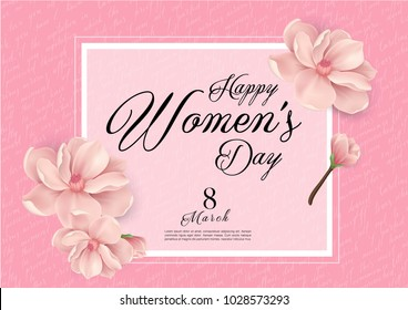 Happy Woman's Day Handwriting text as celebration. 8th March Text card invitation, template. Festivity background. Lettering typography poster. Banner on textured background. Vector illustration.