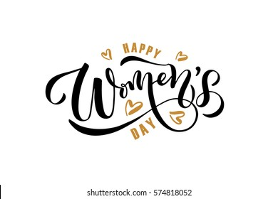 Happy Woman's Day text as celebration badge, tag, icon. Text card invitation, template. Festivity background. Lettering typography poster. Banner on textured background. Vector illustration EPS 10.
