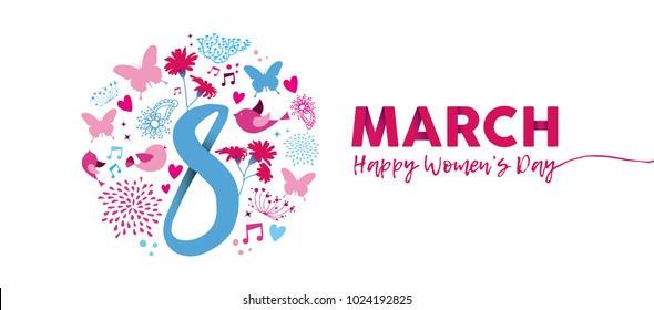 Happy Women Day 2018 floral illustration, feminine design with March 8th text quote and pink spring decoration in hand drawn style. Horizontal card format for web banner or header. EPS10 vector.