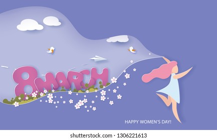 Happy Women Day 8 March holiday illustration. Paper cut girl running cutout blue sky for spring landscape. Horizontal format design for web banner and greeting card. Vector illustration.
