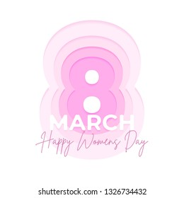 Happy women day greeting card illustration. Paper cut deep style with hand lettering text.