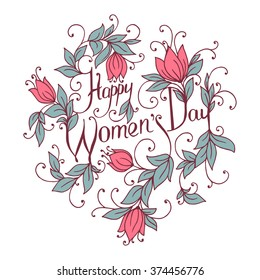 Happy Women Day. Hand drawing congratulations card. Vector illustration