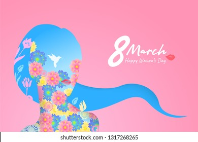 Happy Women Day holiday illustration. Paper cut girl head and long hair silhouette cutout with colorful flowers. Horizontal format design ideal for web banner or greeting card. Design in EPS10 vector.