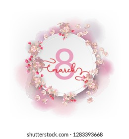 Happy women day spring vector background. Greeting card on March 8