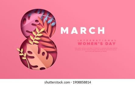 Happy Women Day web template illustration. 3D papercut March 8 symbol with beautiful tropical nature decoration, pink plant leaf and copy space. Paper craft design for international women's event.