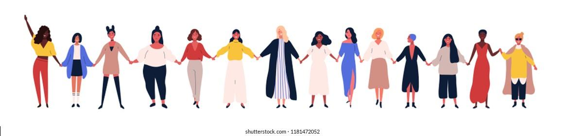 Onnellisia naisia tai tyttöjä, jotka seisovat yhdessä ja pitävät kädestä. Naispuolisten ystävien ryhmä, feministien liitto, sisaruus. Litteä sarjakuvahahmoja eristetty valkoisella taustalla. Värikäs vektorikuva.