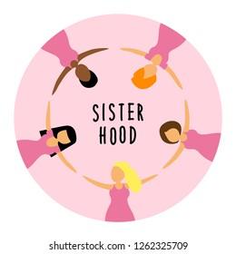 Happy women or girls as union of feminists, sisterhood as flat cartoon characters