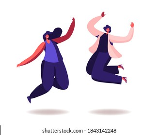 Happy Women Jumping on White Background. Young Joyful Female Characters Jump or Dancing with Raised Hands. Happiness, Freedom, Motion and Motivational Concept. Cartoon People Vector Illustration