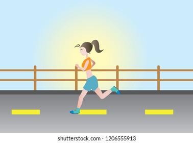 happy women running in morning