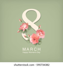 Happy women s day greeting card. Postcard on March 8. Text with flowers