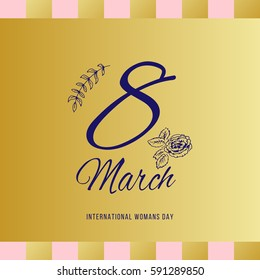 Happy women s day greeting card. Postcard on March 8