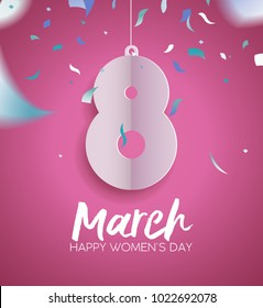 Happy Women's Day 2018 greeting card illustration, paper cut March 8 sign with party confetti and typography quote. Fun celebration design in pink color. EPS10 vector.