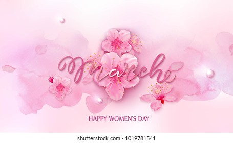 Happy women's day. 8 March vector illustration with cherry blossoms on pink background.