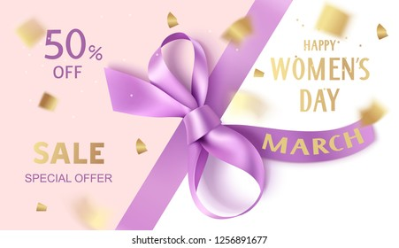 Happy Women's Day. 8 March. International Womens day sale design template. Purple ribbon with decorative bow and golden confetti. Holiday background. Vector illustration
