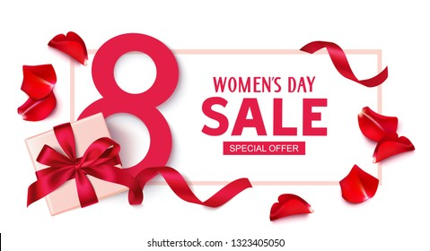 Happy Womens Day. 8 March sale design template. Decorative gift box with roses. Vector illustration