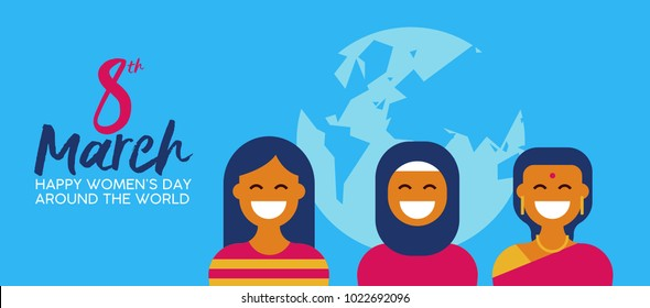 Happy Women's Day 8th March illustration, group of ethnic women in traditional clothing for diverse worlwide celebration. Horizontal card format for web banner or header. EPS10 vector.