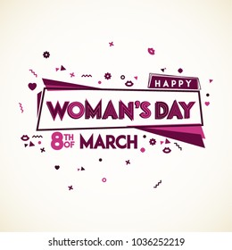 Happy Womens Day. 8th of March. Typographical design. Vector elements.