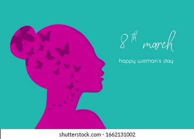 Happy Women's Day 8th March, beautiful girl face. Horizontal card format for web banner or header. vector illustration