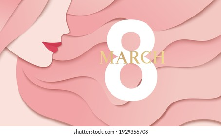 Happy Womens Day background. 8 march design template with woman face profile and greeting text. Girl with long pink hair. Vector illustration