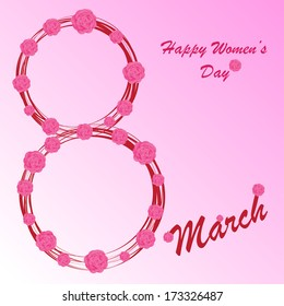 Happy Women's Day background on the pink