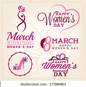 Happy Women's Day Badges and Labels. Vector Illustrations