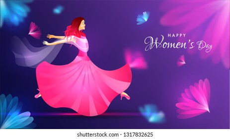 Happy Women's Day banner design with illustration of happy young girl on blurred floral background.