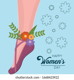 Happy womens day card with ballet dancer leg - Vector