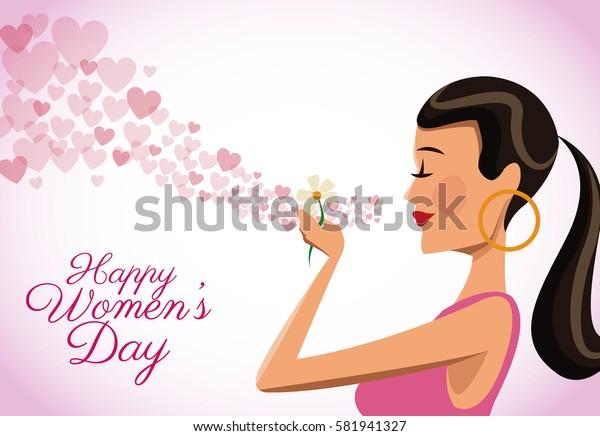 happy womens day card cute girl flower heart flying