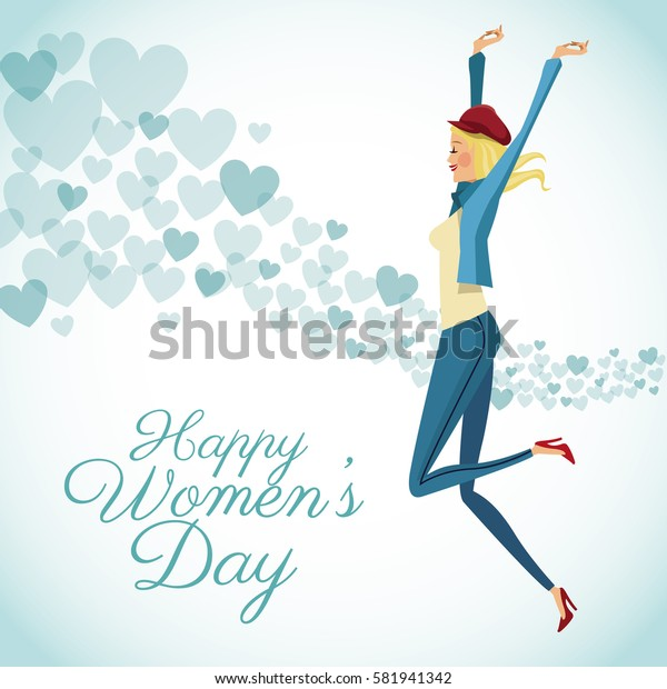 happy womens day card fun girl with blue hearts background