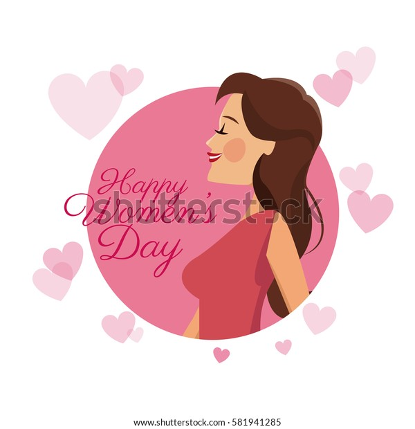 happy womens day card girl brunette pink hearts image