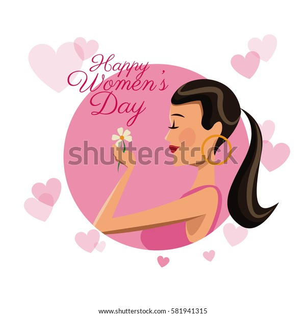 happy womens day card girl daisy flower pink hearts image