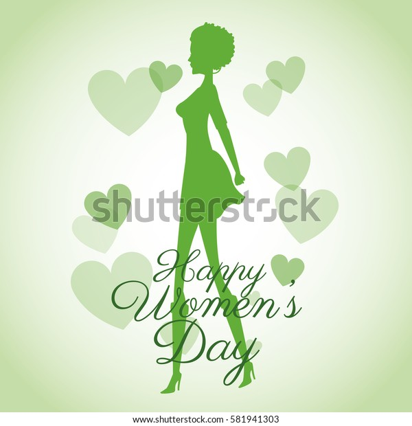 happy womens day card-silhouette girl green hearts