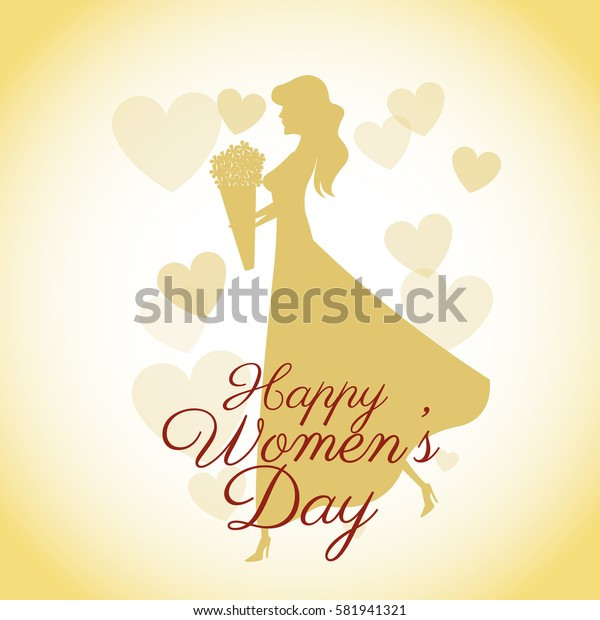 happy womens day card-silhouette girl yellow hearts