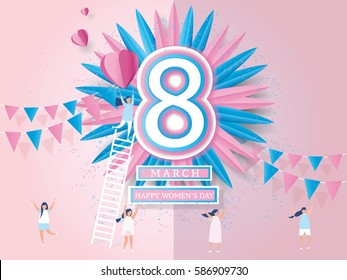Happy women's day celebration card. design for International Women's Day - 8 March holiday. and young women joyful on abstract pink background. Vector illustration.paper craft style.