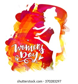 Happy Women's Day celebration concept with creative illustration of a young girl on colorful paint stroke background.