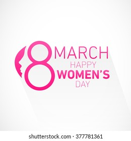Happy Women's Day Design Element for Greeting Cards. Vector Illustration.