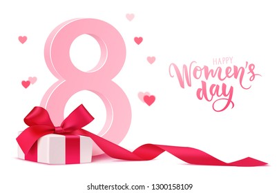 Happy Women's Day design template. 8 march background with gift box and blur hearts isolated on white. Vector illustration